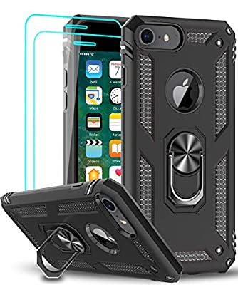 LeYi iPhone 8/7 / 6s / 6 Case with Tempered Glass Screen Protector [2Pack], Military Grade Protective Phone Case with Car Mount Kickstand for iPhone 6/ 6s/ 7/8, Black