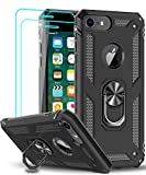 LeYi Compatible for iPhone 8 Case, iPhone 7 Case, iPhone 6s/ 6 Case with Tempered Glass Screen Protector [2 Pack], Military-Grade Protective Phone Case with Ring Kickstand for iPhone 6/6s/7/8, Black