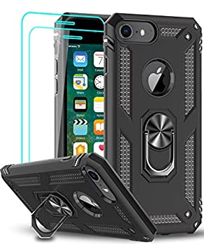 LeYi Compatible for iPhone 8 Case iPhone 7 Case iPhone 6s/ 6 Case with Tempered Glass Screen Protector [2 Pack] Military-Grade Protective Phone Case with Kickstand Ring for iPhone 6/6s/7/8 Black