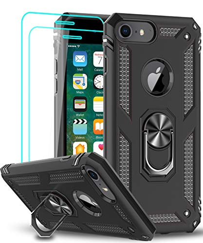 LeYi Compatible for iPhone 8 Case, iPhone 7 Case, iPhone 6s/ 6 Case with Tempered Glass Screen Protector [2 Pack], Military-Grade Protective Phone Case with Kickstand Ring for iPhone 6/6s/7/8, Black
