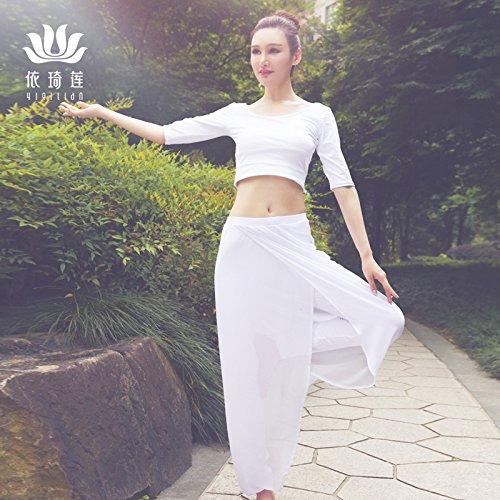 Qsheulx damespak voor herfst en winter, wit, voor yoga, prestaties en prestaties, voor fitness, baljurk, M, 15717 15270 wit