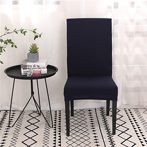 LIUL Solid Color Spandex Chair Covers Stretch Dining Room Seat Cover Elastic Chair Protective Case for Restaurant Wedding,Navy