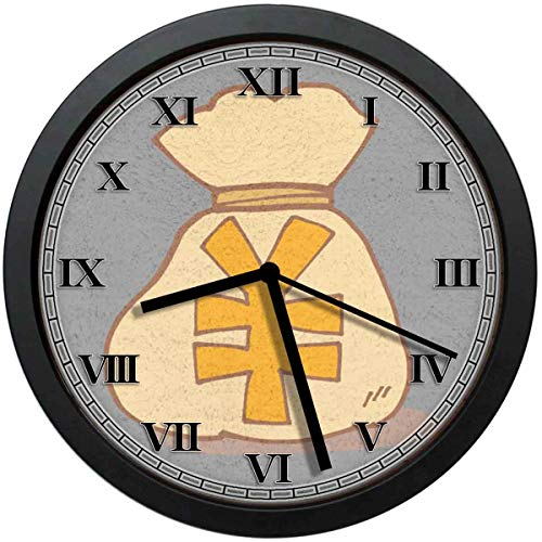 お金袋 .掛け時計 おしゃれ 壁掛け時計 —静音 約25cm ホーム ベッドルーム キッチン プレゼントオススメ