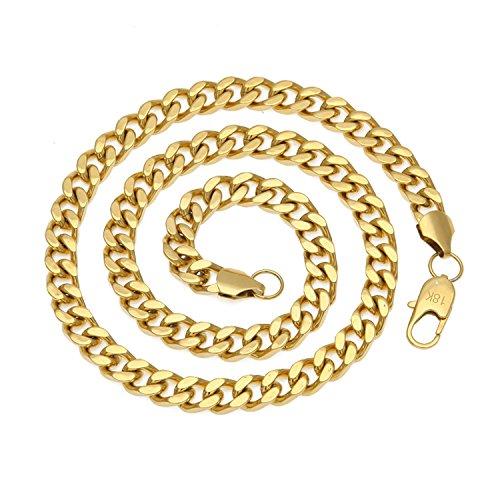 Hollywood Jewelry Cadena de cadena de eslabones cubanos de 5 mm, hasta 20 veces más chapado de 18 quilates que otras cadenas de oro, collares duraderos para hombres con garantía de reemplazo de por vida de 22 a 28 pulgadas