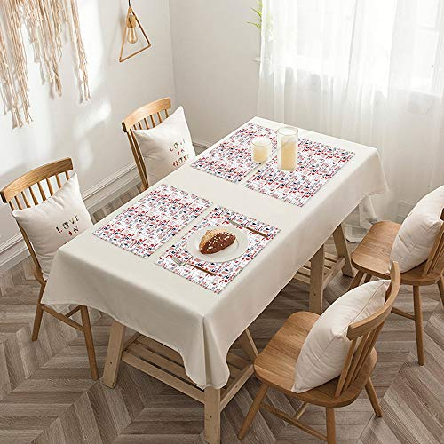 Sets de table de Rectangulaire lavables, durables, résistants à la chaleur et antidérapants,Londres, collection d'art britannique de Sketch Artwork Countr,Salle à Manger de Cuisine de Fête (Lot de 4)