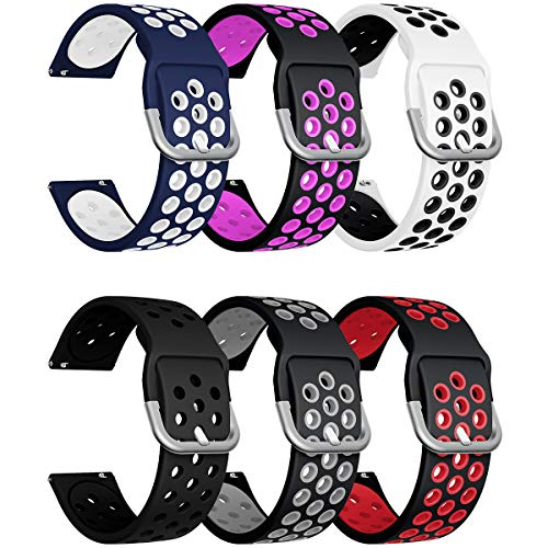 Sycreek 20mm Quick Release Watch Bands Silicone Strap with 20mm Luggs Samsung Galaxy Watch Active 40mm/Active 2 44mm/Gear Sport/Gear S2 Classic/Galaxy Watch 3 41mm/Galaxy Watch 42mm