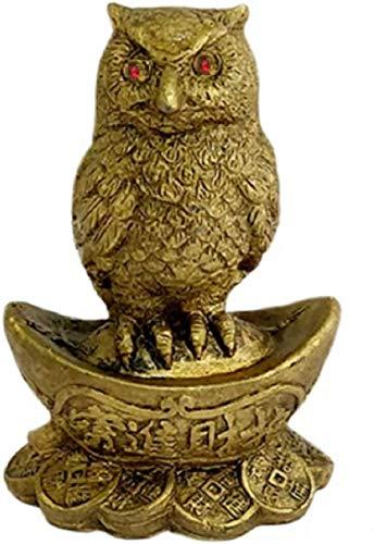 Búho Un Símbolo de la Sabiduría Protección Potenciador de la Riqueza Prosperidad Lingote y monedas de cama Estatua Feng Shui Dinero Buena Suerte Estatua Decoración del Hogar