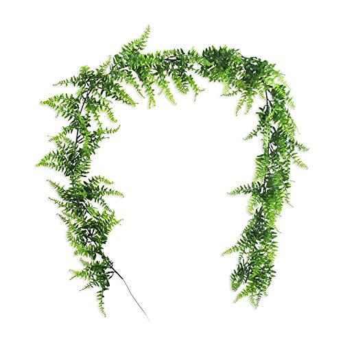 Basage 6.2 Pies Planta Artificial Vide Helecho de Boston VegetacióN Planta de Vid para Pared Interior Al Aire Libre Cesta Maceta Floral Boda Guirnalda DecoracióN