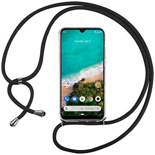 Ingen Funda con Cuerda para Xiaomi Mi A3 - Carcasa Transparente TPU Suave Silicona Case con Colgante - Negro
