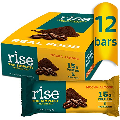 Rise Whey Protein Bar, Mocha Almond 15g of Protein, Five Ingredients, Non-GMO, Gluten Free, Soy Free, Kosher, Contains Whey Protein, Pack of 12 Bars