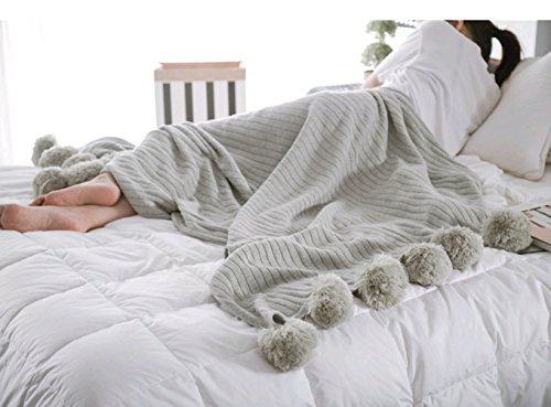 Icegrey Manta con pompones, de punto hecha a mano, colcha/cubrecama, para ver la tele, para el sofá, la cama, la habitación, 100 % algodón, gris, 90 x 90 cm