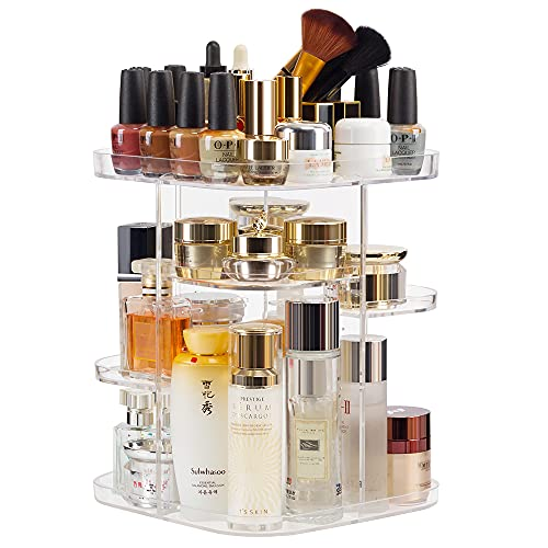 Rotating Makeup Organizer for Vanity 4 Tier Adjustable Spinning Cosmetic Storage Cases and Make Up Holder Display Cases Clear