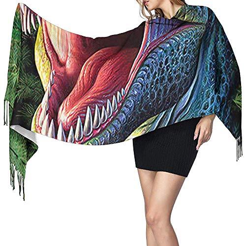 Regan Nehemiah Xmas t rex coole kerst dinosaurus kerstmuts vrouwen lange sjaal winter warme sjaal kerstgeschenk voor moeder vriendin zus