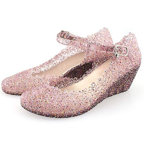 Sandalias De Cuña De Verano Con Purpurina Para Mujer Zapatos De Nido De Pájaro De Plástico Hueco Para Mujer Zapatos De Playa De Diamantes De Color De Mujer Zapatos De Playa Para Caminar