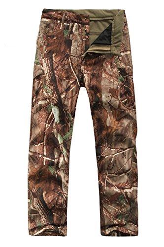 Pantaloni da uomo da caccia all'aperto, impermeabili, in softshell, mimetici, tattici, imbottiti con pile, caldi, resistenti all'usura, Trees Camouflage, M