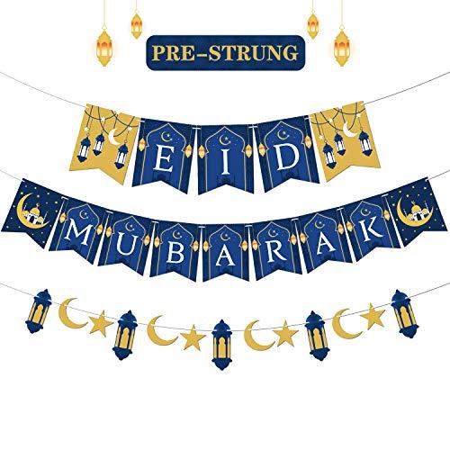 Eid Mubarak Banner Happy Eid Party Decorations Ramadan Festival Supplies Moon Star Lantern Garland Ramadan Decor