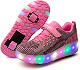 Unisex Kids LED Light Up Flashing Skating Shoes Invisible Automatic Pulley Shoes with Double Wheels Boy Girl Charging Roller Skate Luminous Shoes Pink