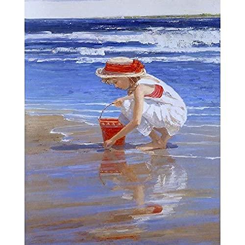 Xofjje Pintar por Numeros para Adultos_Mujer de Playa_Niños Pintura por Números con Pinceles y Pinturas Decoraciones_Kit de Pintura al óleo para Adultos_40x50cm_Sin Marco