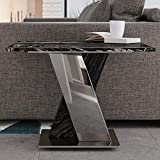 Modern Malbec Square Genuine Black and White Marble End Table with Brushed Stainless Steel Base