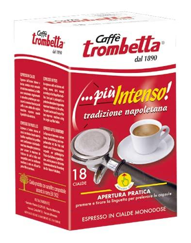 Caffè Trombetta, Caffè In Cialda Ese, Più Intenso Tradizione Napoletana A Tostatura Scura - Astuccio Da 18 Cialde - 126 gr