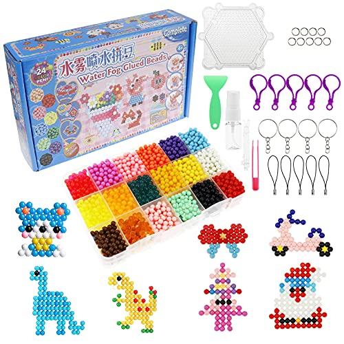 Lunriwis Kit di Perline per fusibili da Acqua,3000 perline, 18 Colore Kit di Perle da Acqua,Creazione Giocattoli Educativi Fai-da-Te,per bambini e principianti
