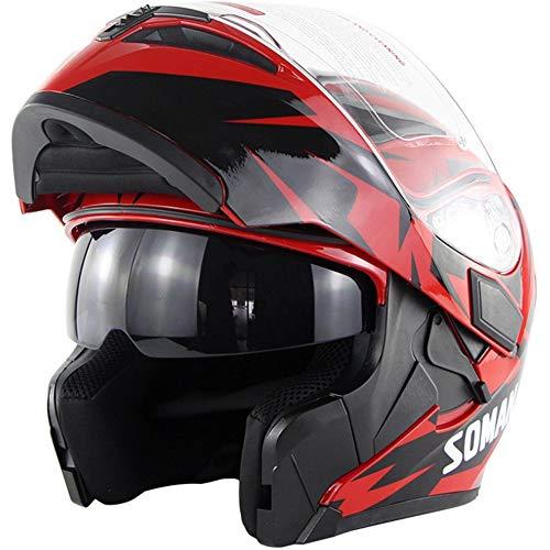 KIKTS Casco Moto Modular con Visera para Adultos, Hombres, Mujeres, para Cascos Modulares Giratorios, Colores Diversos,33 X 23 X 27 Cm,Red,XXL