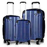 Kono <span class='highlight'>Luggage</span> <span class='highlight'>Sets</span> of 3 Piece Lightweight 4 Wheels Hard Sheel ABS Travel Trolley Suitcases (Navy)