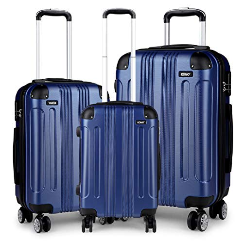 Kono Luggage Sets of 3 Piece Lightweight 4 Wheels Hard Sheel ABS Travel Trolley Suitcases (Navy)
