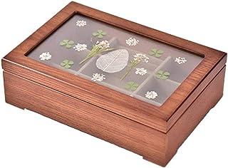 木製ジュエリーボックスレトロ可視ガラスデザイン多機能ホームデスクトップリングストレージボックス 24x16.5x7.5cm TXDTHB-Jewelry storage box 004