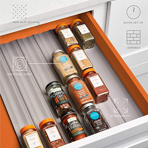 YouCopia SpiceLiner Spice Rack Drawer Organizer (Universal Fit 6-Pack ), 24-Bottle
