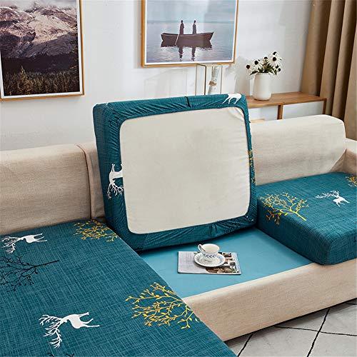 Fundas de cojín para sofá y sofá, elásticas, de repuesto para cojines individuales (verde azulado, grande de 1 plaza)