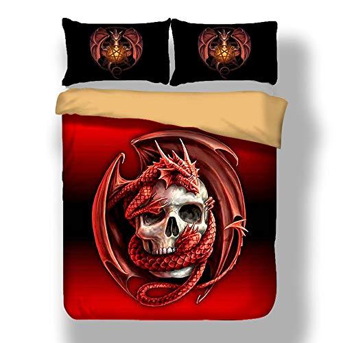 Sticker superb Ensemble de Literie Cool Gothic Animal Housse de Couette avec Couvre-Oreiller (Rouge Dragon, 220 x 240cm)