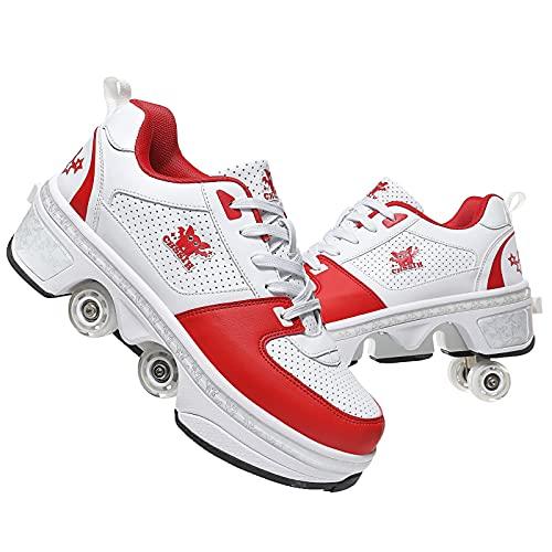 AGLOAT Rollschuhe Schuhe mit Rollen für Mädchen, Deformation Rollerskates, 2 in 1 Inline-Skates, Outdoor Gymnastik Sneakers für Kinder Birthday Present,Rot-38EU