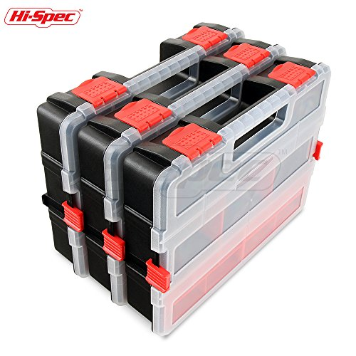 Hi-Spec Tool and Parts Organiser Box, Stackable with Adjustable Compartments and Removable Trays for Compact Storage of Tools, Nails, Screws, Electrical Components, Hardware, Nuts, Bolts, Fishing Tack