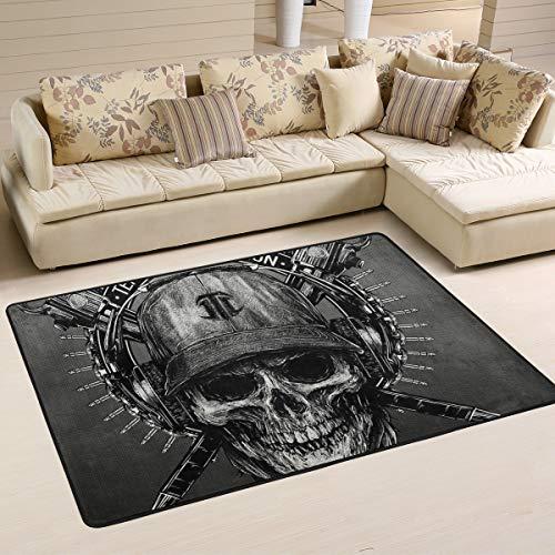 Mnsruu Flächenteppich 183 x 122 cm, Totenkopf-Muster Bedruckter Teppich Wohnzimmer Dekor Bodenmatte Teppich für Schlafzimmer