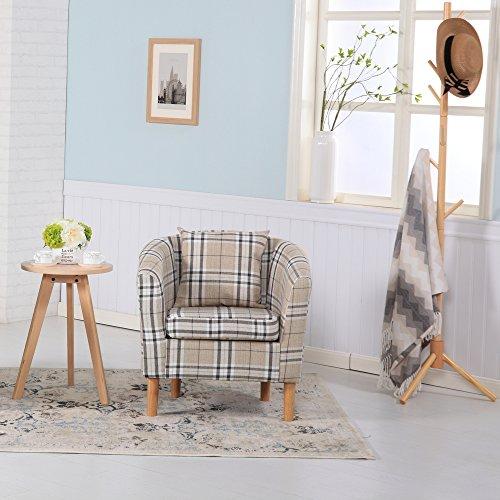 Premium Tartan Fabric Tub Chair Armchair Dining Living Room Office Reception (Cream)