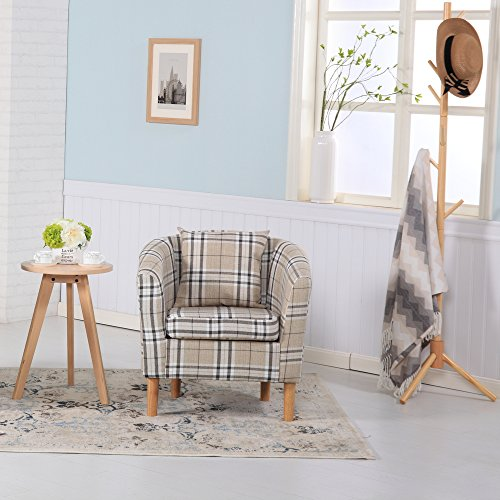 Sessel mit kariertem Schottenstoff Modern 73W x 65D x 72H cm cremefarben