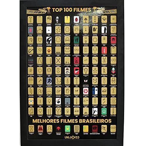 Mapa de Raspar Top 100 Filmes Unlocked   Poster Raspadinha (66x46cm COM MOLDURA)