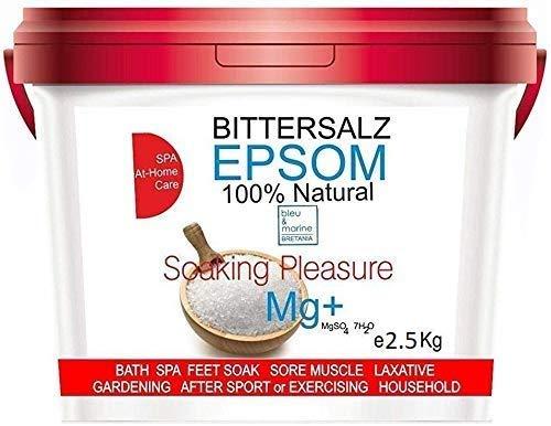 Sels d'Epsom ● Forme naturelle de Magnésium 2.5kg ● Multiusage - Cusine, Beauté, Santé, Jardin, Bain de Relaxation