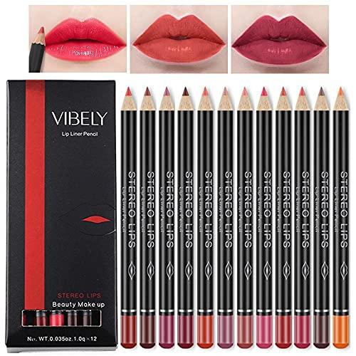 12pcs / Set impermeable Lápiz Delineador de labios de larga duración Lip Liner Herramientas del maquillaje