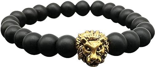 Wintefei 1Pc Men Fashion Lava Stone Cool Lion Head Adjustable Beaded Cuff Charm Bracelet - Gold 2
