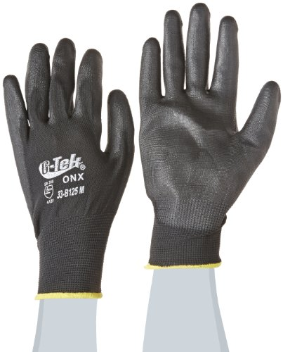 G-Tek 33-B125/M ONX Seamless Knit Nylon Gloves with Polyurethane Coated Palm and Fingers, Black, Medium, 1-Dozen