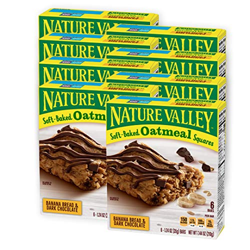 Nature Valley Soft-Baked Oatmeal Squares, Banana Bread and Dark Chocolate, 6 ct (Pack of 8)