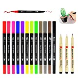 Dual Brush Pen Set,12 Farben,3 Fineliner Schwarz(Spitze 0.1,0.3,0.8mm),Filzstifte Set,Aquarell...