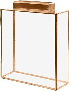 Koyal Wholesale Glass Wedding Card Gift Box Holder, Reception Drop Box, Large Pillar Candle Holder, Modern Lantern Table Decor, Geometric Wedding Decor (Copper, 15.5 x 11.5 x 4-Inch)