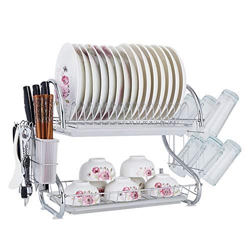 Yzibei keuken afvoerrek Vaatwasser, 2-laags schotelrek, eenvoudig te installeren keuken afneembare afvoerbord, servies droog mandje,