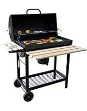 BBQ-Toro Houtskool grillwagen | Ø 42 x (L) 80 cm | Premium houtskoolgrillwagen verrijdbaar, rookoven, houtskoolgrill, barbecue grill met deksel, warmhoudrooster, houten planken