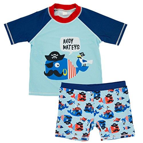 Liny Kinderbadpak – jongens meisjes Swimwear korte mouwen tweedelig bamboe kostuum zwemmen baby bescherming zonwering zwemmen strand zonwering haai poulpe