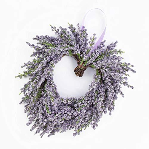 artplants.de Deko Lavendelherz, violett, Ø 20cm - Künstlicher Kranz - Türkranz