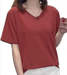 nunonette Tシャツ 半袖 Vネック 杢 カジュアル カットソー レディース 無地 5色 (M・L・XL・2XL)